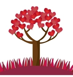 romantic tree hearts lovely design vector image
