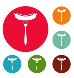 sausage on fork icons circle set vector image
