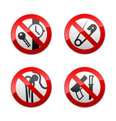 set prohibited signs - metal detector vector image vector image