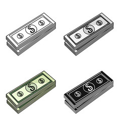 stack of money icon in cartoon style isolated on vector image