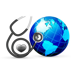 stethoscope and blue earth vector image vector image
