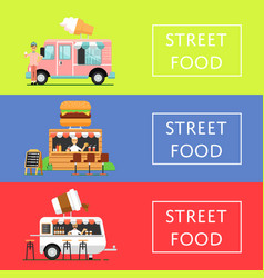 Street food festival flyers set vector