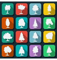 Trees icons vector