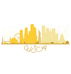 Usa city skyline golden silhouette vector
