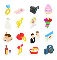 Wedding isometric 3d icons set vector