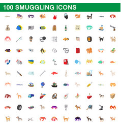 100 smuggling icons set cartoon style vector image vector image