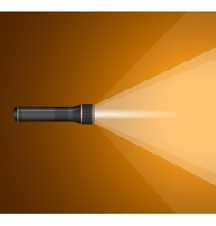 Beam of light from flashlight black metal vector