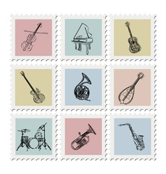 Postage stamp instruments vector