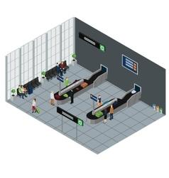 People waiting baggage isometric vector