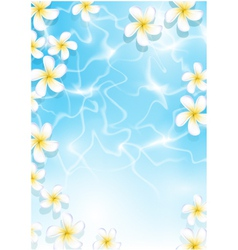 Tropical background with flowers in water vector image