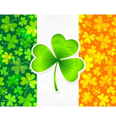 Irish flag with green and orange clovers vector