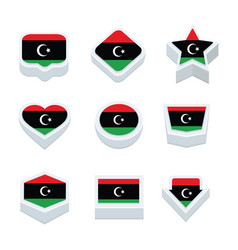Libya flags icons and button set nine styles vector