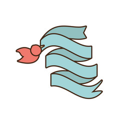 bird with ribbon lovely decoration vector image