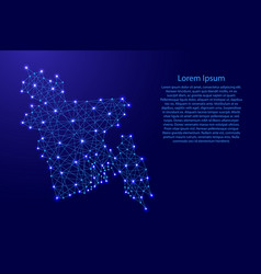 Map of bangladesh from polygonal blue lines vector