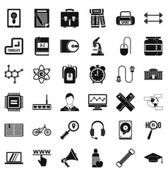 Business seminar icons set simple style vector