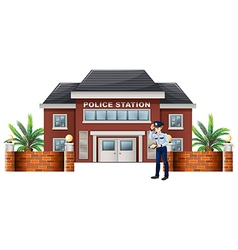 A policeman outside the police station vector