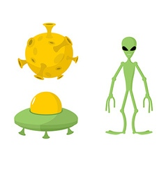 Set green alien and ufo moon vector