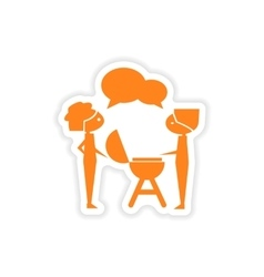 Icon sticker realistic design on paper barbecue vector