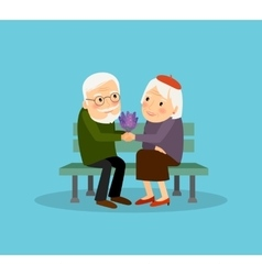 Lovely old couple vector