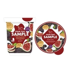 Fig yogurt packaging design template vector