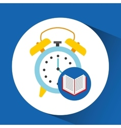 Book school open and clock vector
