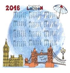 Calendar 2016LondonLandmarks panoramawatercolor vector image