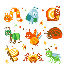 cartoon funny insects and bugs set colorful vector image vector image