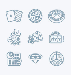 Casino games icons - tech series vector