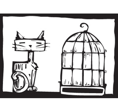 Cat and bird cage vector image vector image