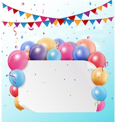 Colorful birthday bunting flags and balloons with vector