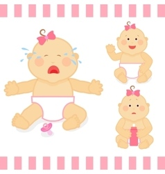 Cute cartoon small pink baby girl vector
