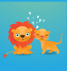 Cute lion cartoon on blue background vector