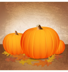 Fall pumpkins and leaves vector