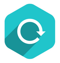 flat arrow sign reload icon hexagon button vector image vector image