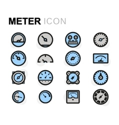 Flat meter icons set vector