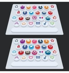 Flat modern keyboard social buttons vector
