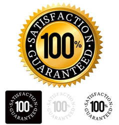 Gold Satisfaction Guaranteed Seals set vector image