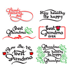 Grandma and grandpa handwritten lettering vector