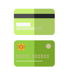 Green colored credit card vector
