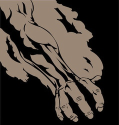Hands ripping paper black version vector
