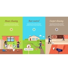 House cleaning video web banner vector