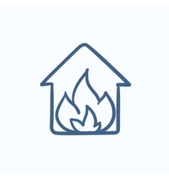 House on fire sketch icon vector image