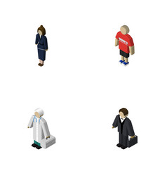 isometric people set of guy businesswoman vector image