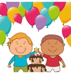 Kids birthday celebration cartoon vector image