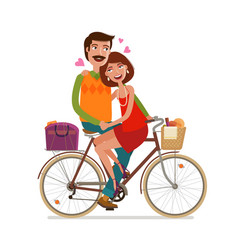Loving couple riding on picnic by bicycle cartoon vector