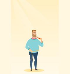 Man measuring waist vector