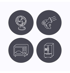 Microwave oven hair dryer ventilator icons vector image