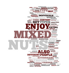 Mixed nuts text background word cloud concept vector