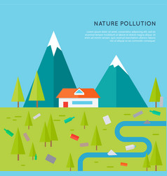Nature pollution concept in flat design vector