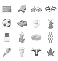 Netherland travel icons set monochrome vector